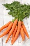 морковь на деревянной предпосылке Стоковые Изображения