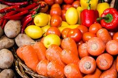 Морковь, томат, картошка, chili, лимон Стоковое Изображение