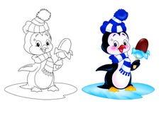 Мороженное шаржа пингвина Стоковая Фотография