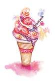 Мороженое акварели вектора Стоковое фото RF