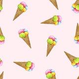 Мороженое в конусе вафли на розовой предпосылке Безшовная картина для конструкции Стоковое Изображение