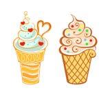 Мороженое в стиле шаржа Стоковые Изображения RF