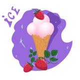 Мороженое в чашке вафли с клубниками бесплатная иллюстрация