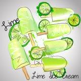 Мороженое известки Иллюстрация штока