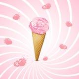 Мороженое клубники в конусе с отражением иллюстрация штока