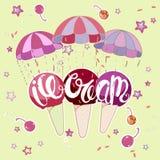 Мороженое на парашюте иллюстрация вектора