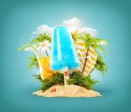 Мороженое освежения и тропическая ладонь Иллюстрация вектора