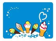 мороженое, покрашенная еда, yummy, десерт, очень вкусный, холодный, иллюстрация вектора