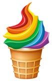 Мороженое радуги в конусе иллюстрация штока