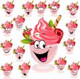 Мороженое с вафлей, поленикой и мятой в чашке иллюстрация штока