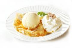 Мороженое с crepe Стоковое фото RF