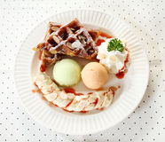 Мороженое с waffle Стоковая Фотография
