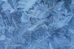 Морозная естественная картина на стекле окна зимы Стоковое Изображение