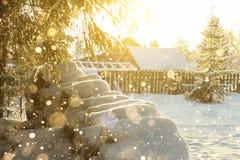Морозное утро в деревне Стоковые Изображения RF