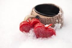 Морозные сердца в феврале Стоковые Фото