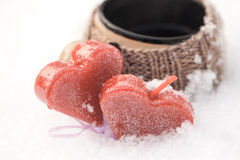 Морозные сердца Стоковое Фото
