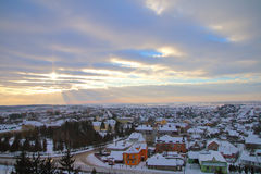 Морозный вечер в городке Pochayiv Стоковые Изображения