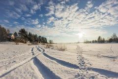Морозный день на реке Стоковое фото RF