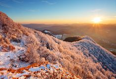 морозный заход солнца ландшафта hoarfrost Стоковое Изображение RF