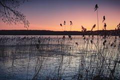 Морозный заход солнца на озере зим Стоковая Фотография RF