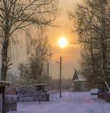 Морозный заход солнца Стоковые Фотографии RF