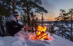 Морозный рассвет на Lake Ladoga стоковые фото
