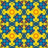 Морокканская плитка - безшовный орнамент Желтый, апельсин, голубые элементы бесплатная иллюстрация