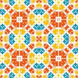 Морокканская плитка - безшовный орнамент Рисовать руки - красный, апельсин, голубые элементы на белой предпосылке иллюстрация штока