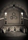 Морокканский дизайн интерьера Жить-комнаты Стоковые Фотографии RF