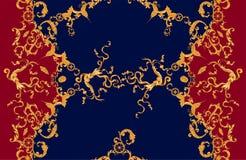 Морская барочная картина с золотыми кораблями и рыбами Заплата для шарфов, печать вектора безшовная, ткань иллюстрация штока