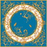 Морская барочная картина с золотыми цепями, рыбами и кораблями Заплат иллюстрация штока