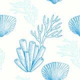 Морская жизнь вектор картины безшовный Стоковые Изображения