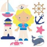Морская иллюстрация вектора девушки Стоковое Изображение RF
