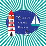 Морская иллюстрация с маяком, кораблем и анкером Стоковое Изображение