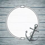 Морская карточка с рамкой веревочки и анкера Стоковая Фотография