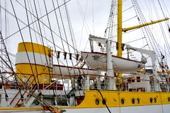 Морская Корабл-школа MIRCEA Гавань Constanta на Чёрном море Рангоут Стоковое фото RF
