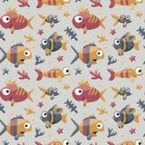 Морская милая безшовная картина с рыбами, водорослями, морскими звёздами, кораллом, морским дном Стоковые Фотографии RF