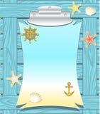 Морская рамка с колесом анкера обстреливает морские звёзды иллюстрация вектора