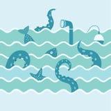 Морская флора и фауна в волне Стоковое Изображение RF