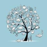 Морская флора и фауна, дерево концепции для вашего дизайна иллюстрация вектора