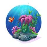 Морская флора и фауна на песочном дне океана иллюстрация штока