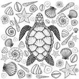 Морская черепаха и раковины в линии стиле искусства Нарисованная рукой иллюстрация вектора Комплект элементов океана иллюстрация вектора