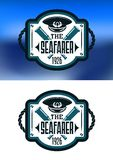 Морская эмблема с крышкой и spyglass капитана Стоковое Фото