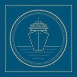 Морская эмблема с туристическим судном иллюстрация вектора