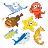Морские животные шаржа установленные с белой предпосылкой Стоковые Фотографии RF