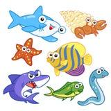 Морские животные шаржа установленные с белой предпосылкой Стоковые Фото