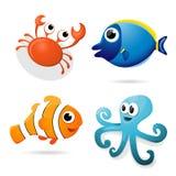 Морские животные шаржа иллюстрация вектора