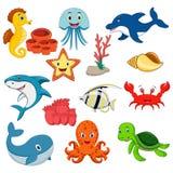 Морские животные vector комплект иллюстрация штока