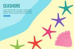 Морские звёзды и раковина в графике данным по Seashore иллюстрация вектора