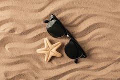 Морские звёзды и раковины с песком как предпосылка текстура песка предпосылок идеально Стоковые Фотографии RF